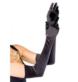 Extra Long Satin Gloves O/S BLACK