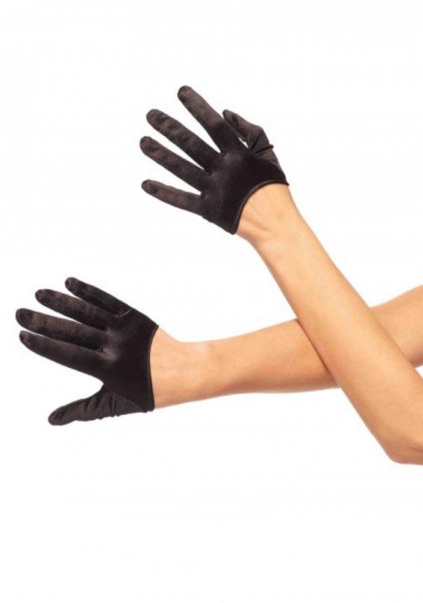 Mini cropped satin gloves O/S BLACK