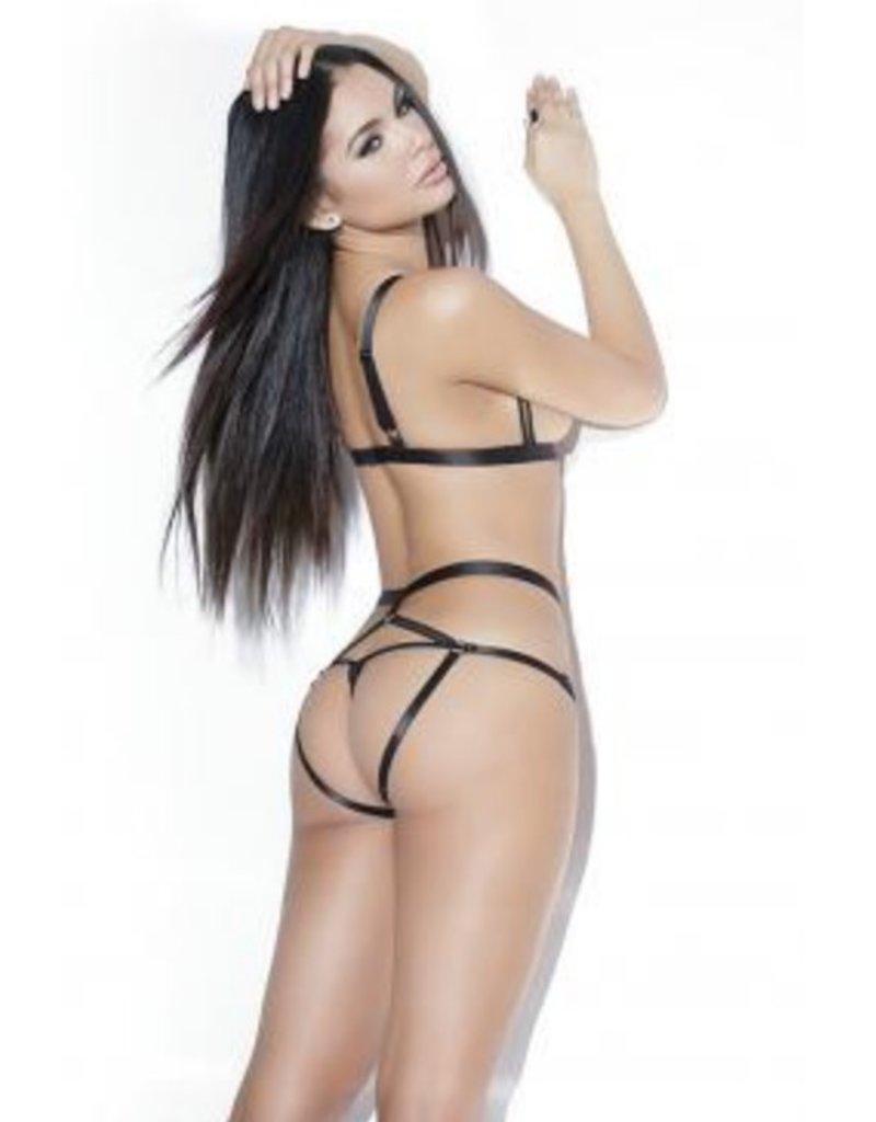 Strapped Up Cupless Bra & Crotchless Panty Set