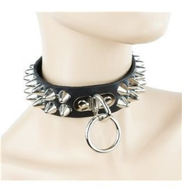2 Row Cone Stud Collar w/ Ring