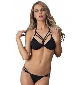 2pc Spandex Cage Strap Halter Bra and Panty