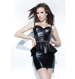 Wetlook Zip-Off Peplum Bustier