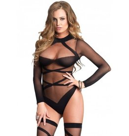 2pc Sheer Criss Cross LS Bodysuit w/ Thigh-Highs