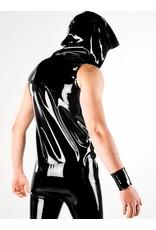 DP Latex Hooded Vest W/Zip Bk/Rd SMALL