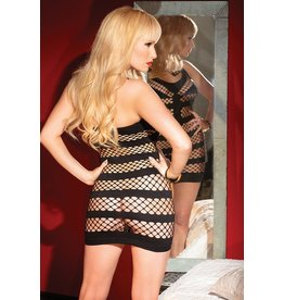 Wide Net and Panel Fishnet Dress
