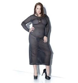 LS Striped Mesh Dress