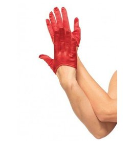 Mini cropped satin gloves O/S RED