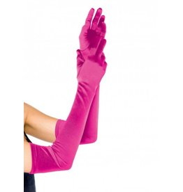 Extra Long Satin Gloves O/S FUCHSIA
