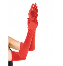 Extra Long Satin Gloves O/S RED