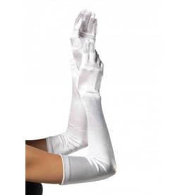 Extra Long Satin Gloves O/S WHITE