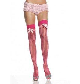 Pinstripe Stockings W/Bow