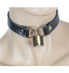 "3/4"" Leather Collar w/ D Rings and Lock"