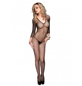 Ls Deep-V Fishnet Bodystocking