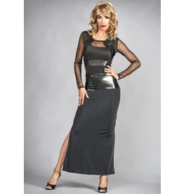 Leather Trim Long Skirt W/Slit