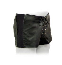 Leather Tie-Front Shorts W/Stre
