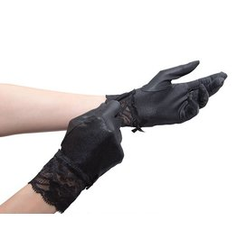 Wrist Wetlook Gloves W/Lace
