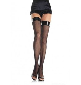 Fishnet Stocking W/Vinyl Top O/S BLACK