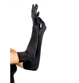 Opera Length Satin Gloves with Rhinestone Trim O/S BLACK