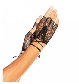 Fingerless Lace Up Fishnet Glo
