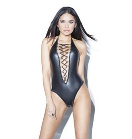 Wetlook Halter Teddy w/Front Cross Lacing