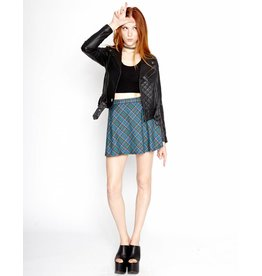 Blue Flip Plaid Mini Skirt