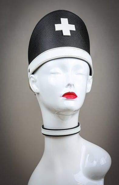 Leather Nun Hat