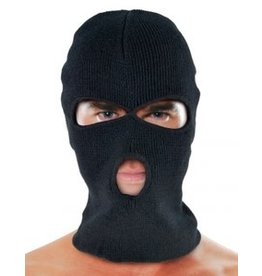 Knit Hood Black O/S 3 Hole Round Mouth
