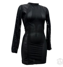 Lycra Mesh & Leather Panel Dress