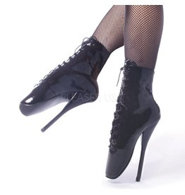 "7"" Ballet Lace Up Ankle Boot Black Pat 9"