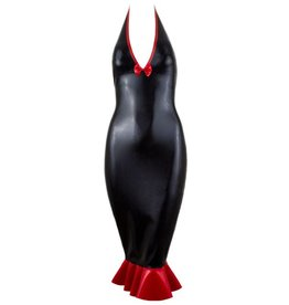 Latex Halter Fishtail Dress W/bow