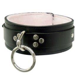 Fleece Lined Single Ring Collar Blk Patent Md/Lg