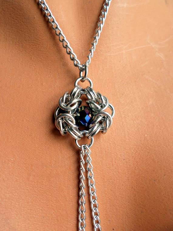 Serenity In  Chains Bound Gems Necklace / Nipple Chain