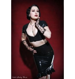 Latex Ruffle High Front Skirt