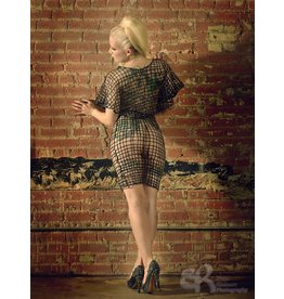 Latex Net Panel Pencil Skirt