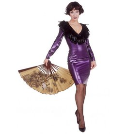 DeMask V-neck Dress with Feather Trim