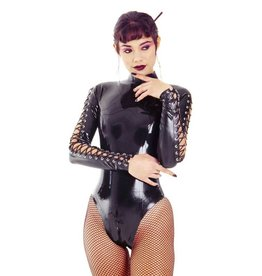 DeMask High Collar Latex Leotard w/ Laced Sleeves Back Zip
