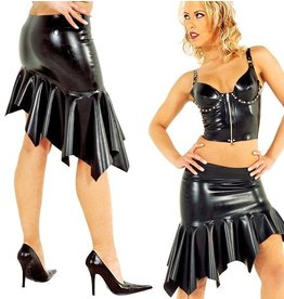 DeMask Asymmetric Flared  Latex Skirt