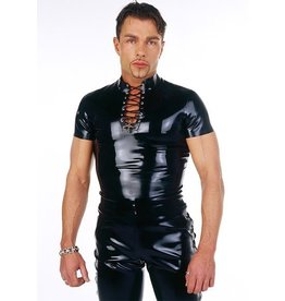 DeMask Lace Neck Short Sleeve Latex Shirt