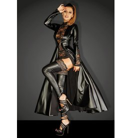 Wetlook Gown Coat w/ Lace