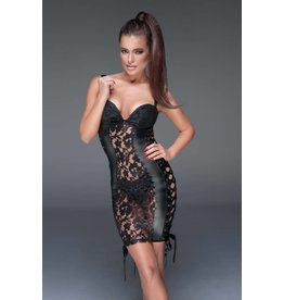 Wetlook and Lace Minidress w/ Ribbon