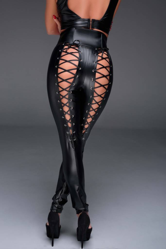 Wetlook High Waisted Lace Back Pants