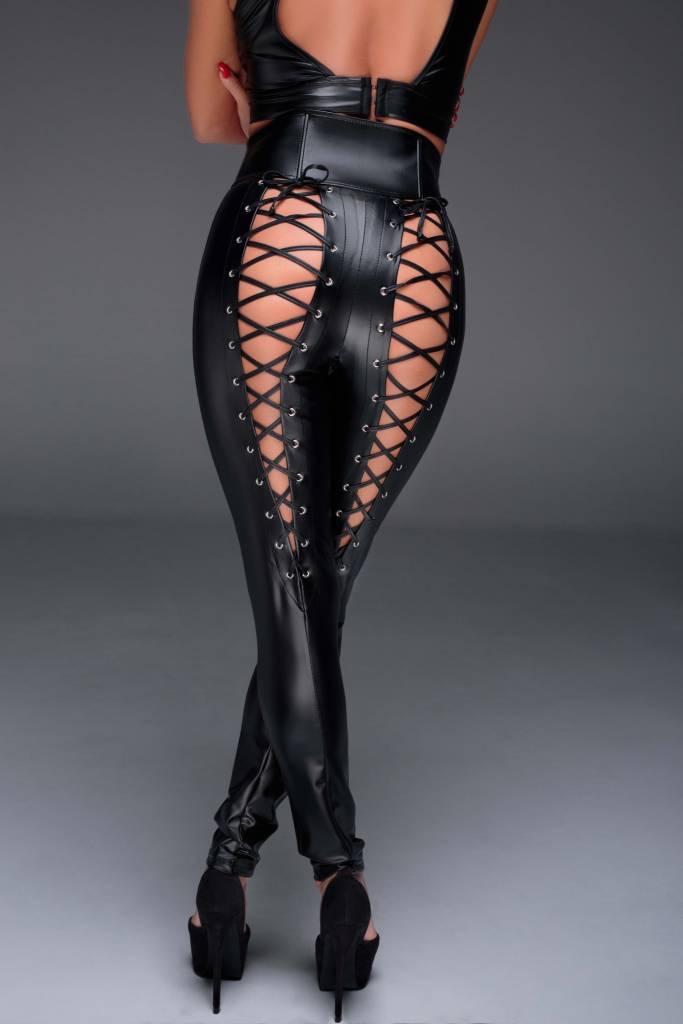 Wetlook High Waisted Lace Back Pants