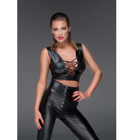 Wetlook Lace Up Crop Top