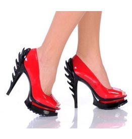 "The Highest Heel Flame 5"" Open Toe Pump"