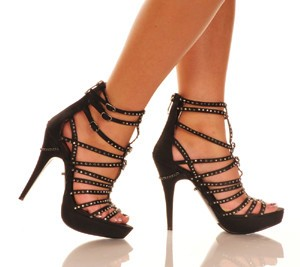 "The Highest Heel Sophia 5"" Rhinestone & Skull Strappy Sandal"