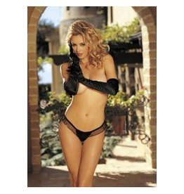 Charmeuse & Mesh Big Bow Thong