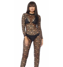 Distressed Fishnet Catsuit