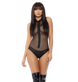 Shaded Net Halter Bodysuit