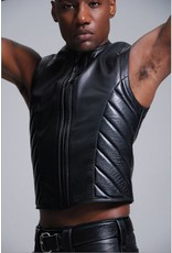 FM Leather Padded Leather Zip Vest