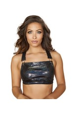 Roma Oil Slick Overall Bib Crop Top w/ Front Pocket